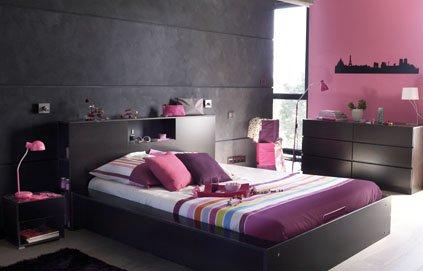 guide ambiance chambre fille gris et rouge
