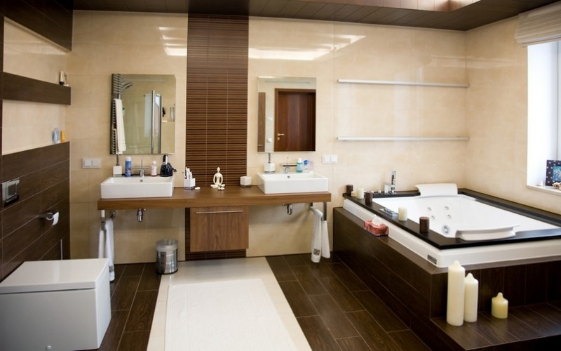 Jolie ambiance salle de bain moderne for Maison deco salle de bain