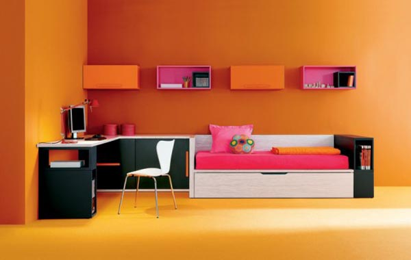 guide d co chambre fille orange. Black Bedroom Furniture Sets. Home Design Ideas