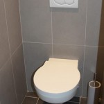 déco wc - toilettes gris et rouge