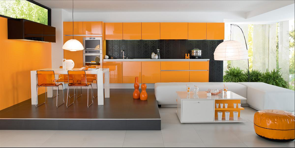D coration cuisine orange for Cuisine peinture orange