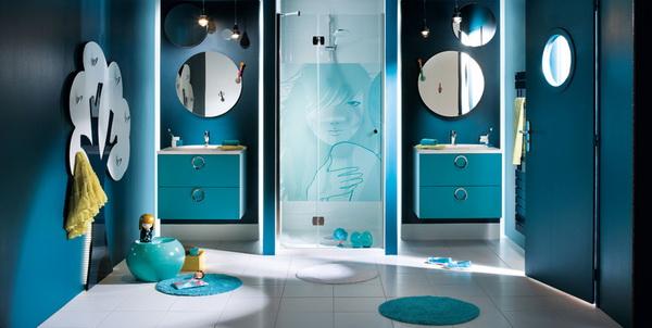 Mod le d coration salle de bain bleu for Modele deco salle de bain