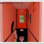 décoration wc - toilettes orange