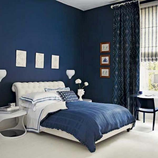 Terrasse En Bois: Navy Blue and White Bedroom Ideas