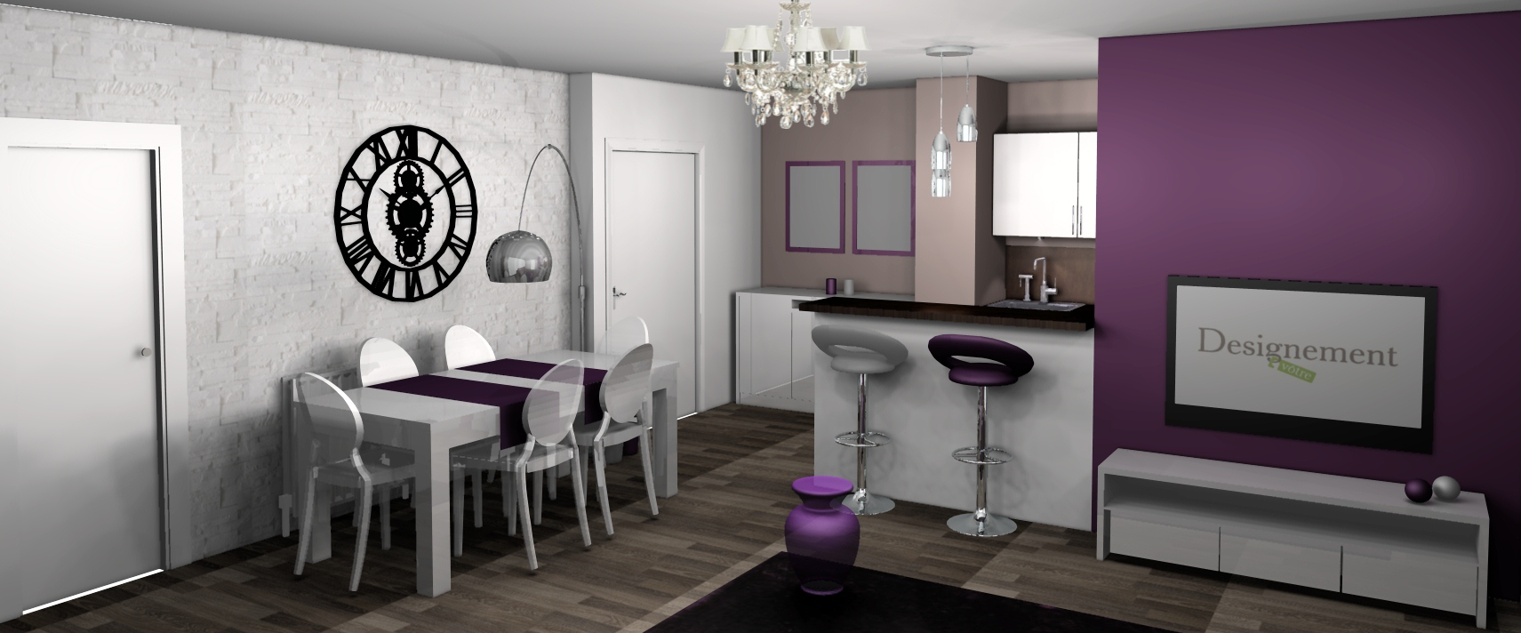 Mod le id e d co salle manger prune for Decoration salon mauve et gris