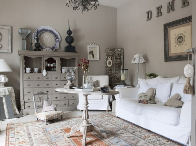 mod le id e d co salon gris et blanc. Black Bedroom Furniture Sets. Home Design Ideas