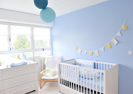 Chambre bebe peinture bleu - Ambiance chambre bebe garcon ...