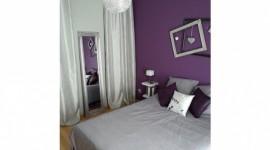ambiance chambre fille gris et violet