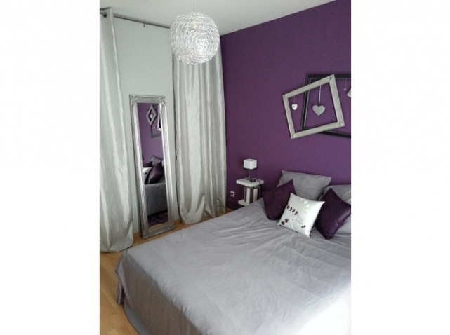photo ambiance chambre fille gris et violet. Black Bedroom Furniture Sets. Home Design Ideas