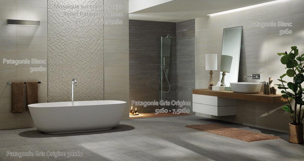 Mod le ambiance salle de bain blanc - Exemple de salle de bain carrelee ...