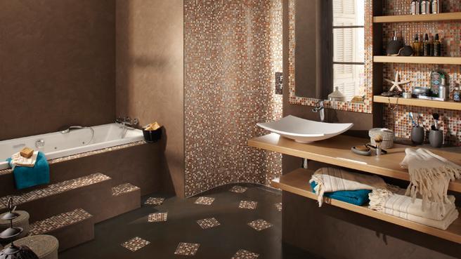 Jolie d co salle de bain ethnique - Carrelage mosaique sol salle de bain ...