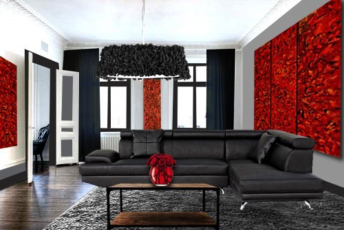 d co salon gris et rouge. Black Bedroom Furniture Sets. Home Design Ideas