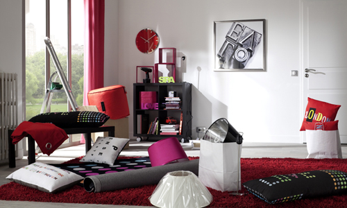nouvelle d co salon gris et rouge. Black Bedroom Furniture Sets. Home Design Ideas