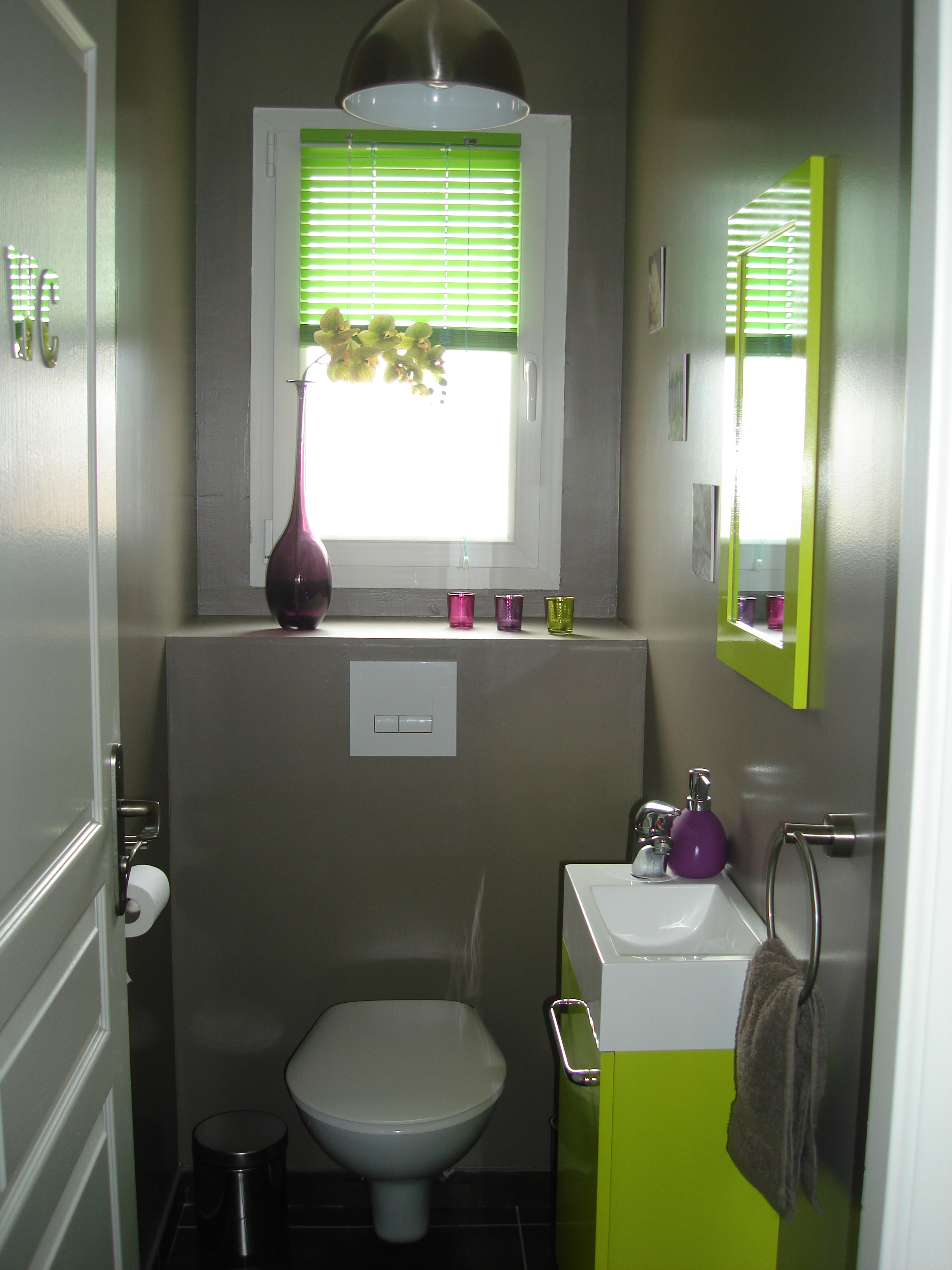 Photo d co wc toilettes prune for Refaire deco maison