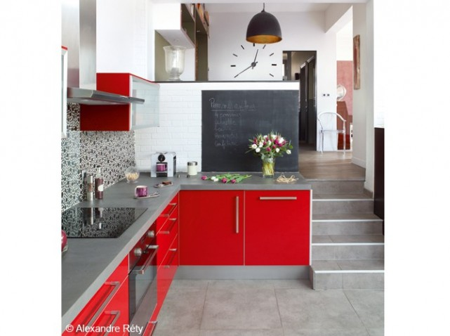 D coration cuisine gris et rouge for Inspiration deco maison