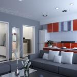 décoration cuisine gris et rouge