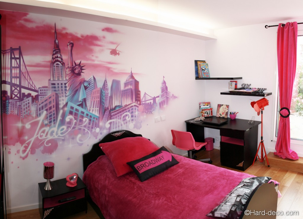 Mod le id e d co chambre fille new york for Modele deco chambre fille