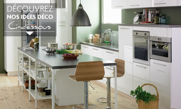 Style id e d co cuisine gris et blanc for Idee deco photo