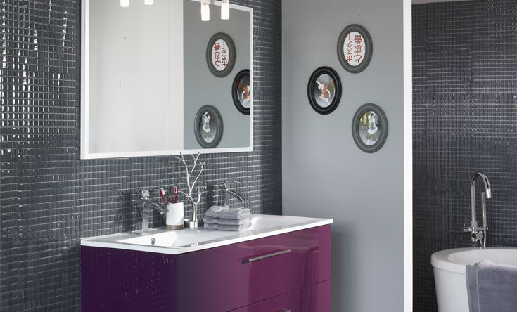 inspiration id e d co salle de bain gris et violet. Black Bedroom Furniture Sets. Home Design Ideas