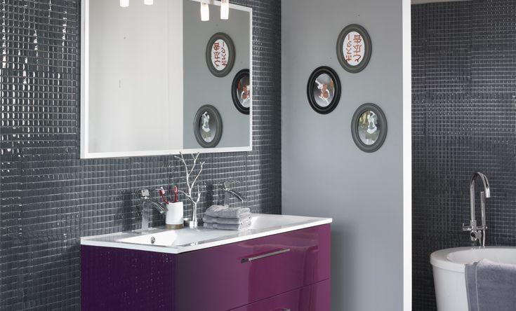 Inspiration id e d co salle de bain gris et violet for Photo idee deco salle de bain