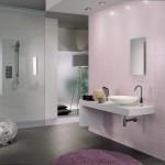 idée déco salle de bain gris et violet