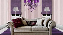 idée déco salon violet
