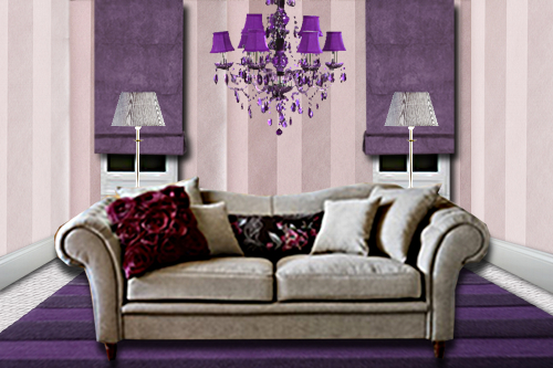 nouvelle id e d co salon violet. Black Bedroom Furniture Sets. Home Design Ideas