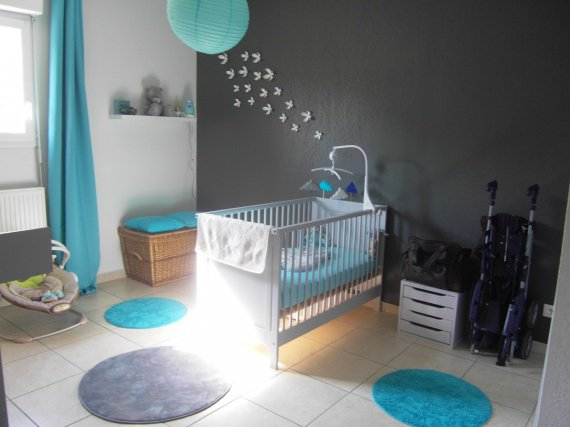 Jolie ambiance chambre gar on turquoise - Ambiance chambre bebe garcon ...