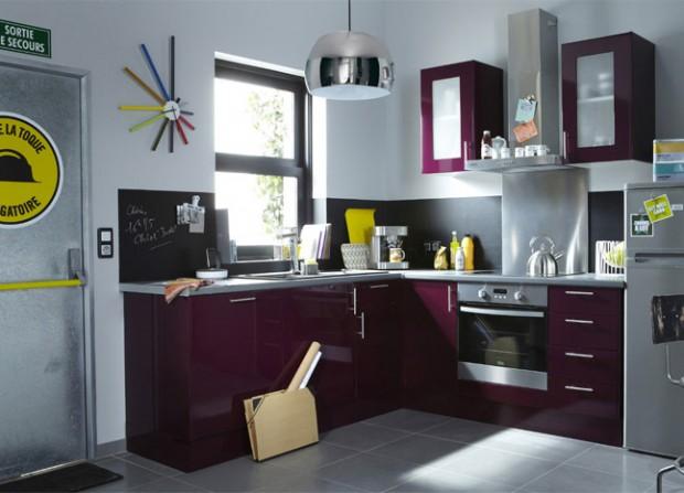 Mod le ambiance cuisine gris et violet for Cuisine aubergine et grise