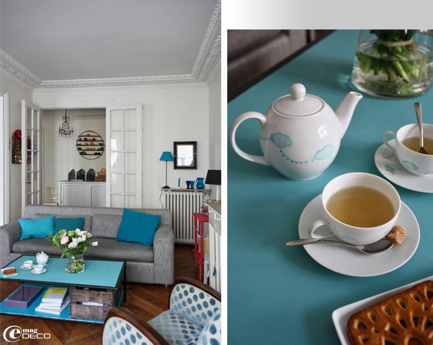 Deco Salon Bleu Et Gris. Idee Deco Salon Gris Et Marron Salon Bleu ...