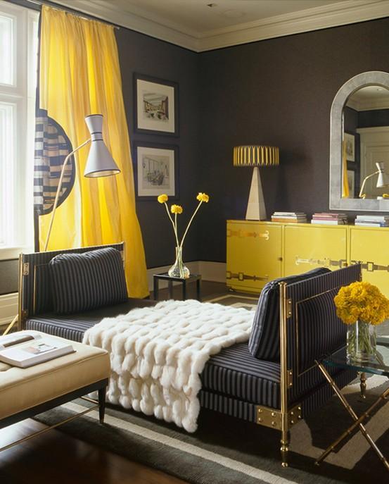 Mod le id e d co chambre jaune for Idee deco maison