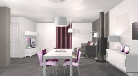idée déco salle à manger gris et violet