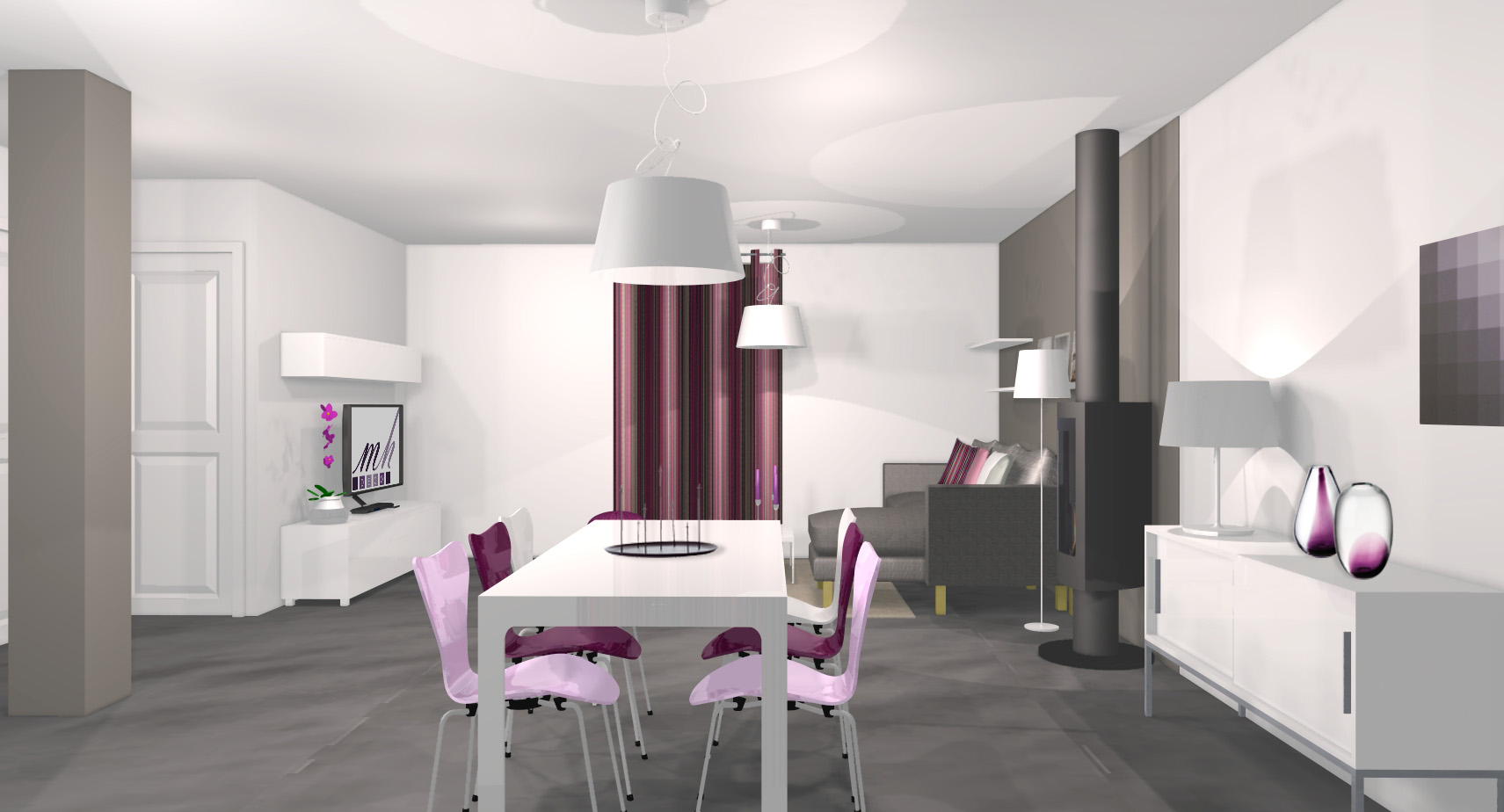 id e d co salle manger gris et violet. Black Bedroom Furniture Sets. Home Design Ideas