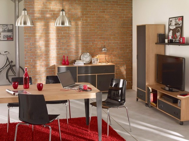 Id e d co salle manger rouge for Exemple deco salle a manger