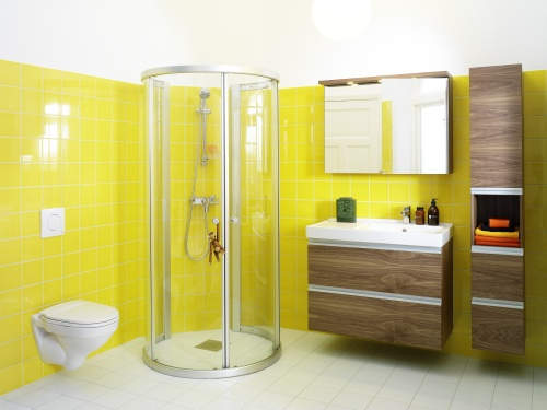 Photo id e d co salle de bain jaune for Deco salle bain idee