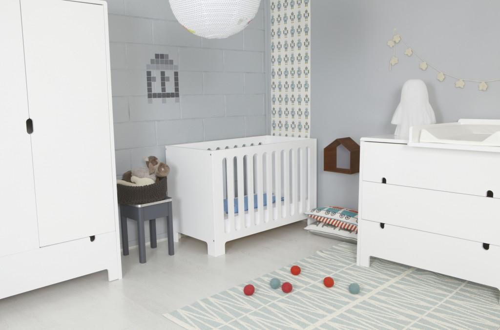 Modèle Ambiance Chambre Fille Gris Et Blanc