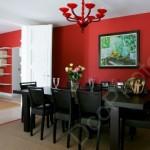 ambiance salle à manger gris et rouge