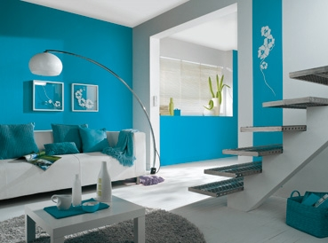 Photo ambiance salon bleu for Deco salon turquoise gris