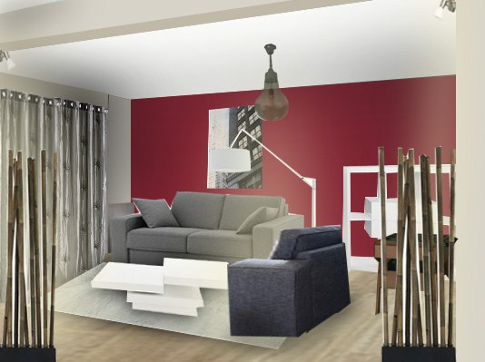 Inspiration ambiance salon gris et rouge - Deco salon gris rouge ...