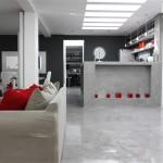 ambiance salon gris et rouge