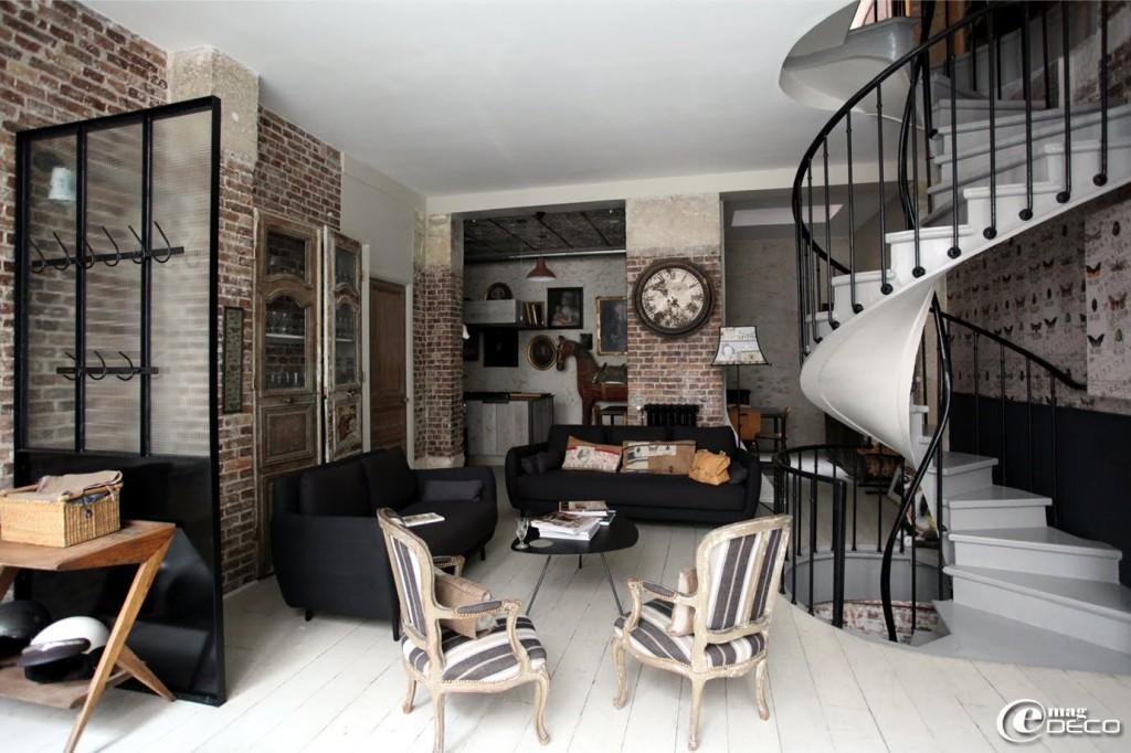 quelle ambiance salon industriel. Black Bedroom Furniture Sets. Home Design Ideas