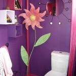 décoration wc - toilettes violet