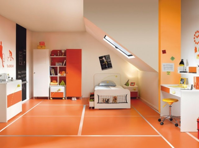Id e d co chambre gar on orange for Decoration maison orange