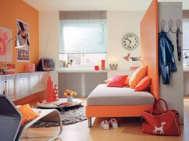 Inspiration id e d co chambre gar on orange for Decoration maison orange