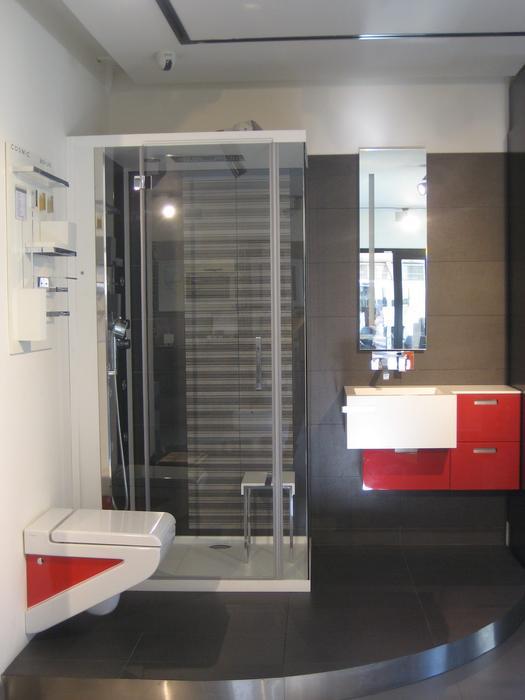 modèle ambiance salle de bain gris et rouge