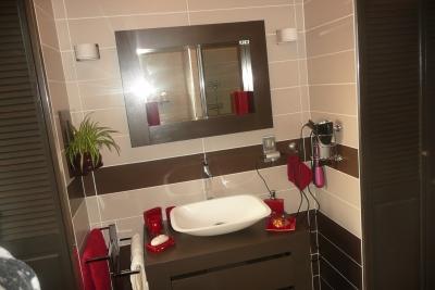 Nouvelle ambiance salle de bain gris et rouge for Decoration salle de bain rouge