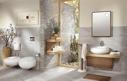 Photo ambiance salle de bain gris et rouge for Deco salle de bain rouge