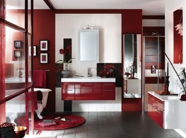 Quelle ambiance salle de bain gris et rouge - Salle de bain rouge et gris ...