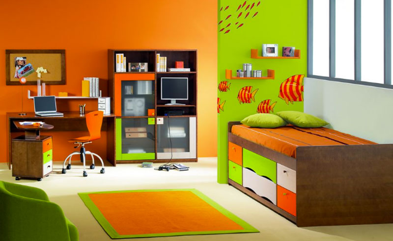 Chambre fille orange vert for Chambre orange et vert bebe