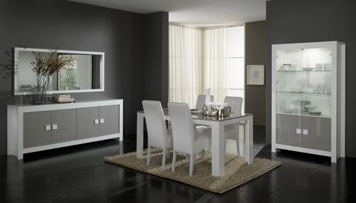 Inspiration d co salle manger gris et blanc for Deco salle a manger blanc